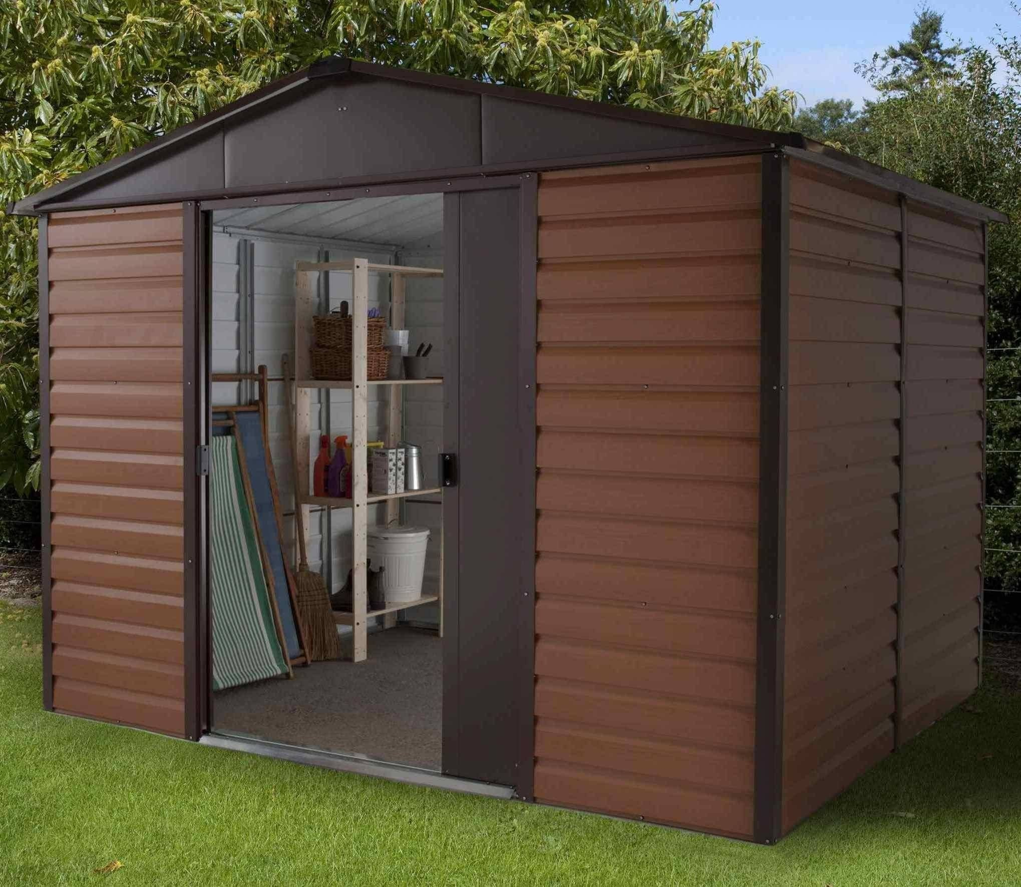 108wgl yardmaster woodgrain metal garden shed for Garden shed 10x10